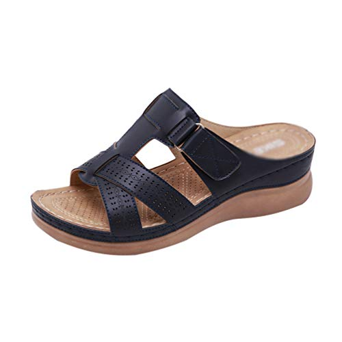 Yijinstyle Sommer Wedge Sandalen Wide Fit Casual Slip On Wanderschuhe (Saphirblau, 40.5 EU)