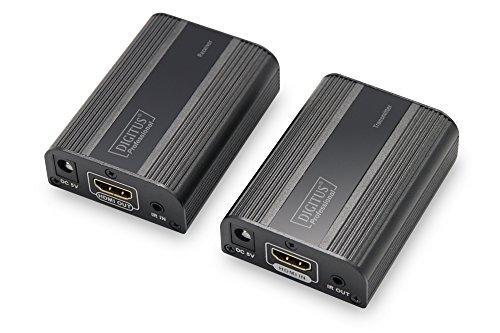 DIGITUS HDMI Extender - Ultra HD, 4K, 60Hz - Set (Sender/Empfänger) - bis zu 60 m Reichweite - Patchkabel (Cat 6, Cat 6A, Cat 7) - schwarz