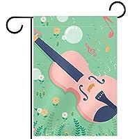 ガーデンヤードフラッグ両面 /12x18in/ ポリエステルウェルカムハウス旗バナー,ギターの音符と花