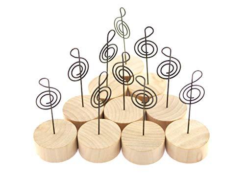 naissant かわいい 音符 ( トーン記号 )の メモクリップ メモホルダー メモスタンド 木製 カード立て ・ 写真立て 音楽 ピアノ バンド ミュージック 好き に 【10個セット】