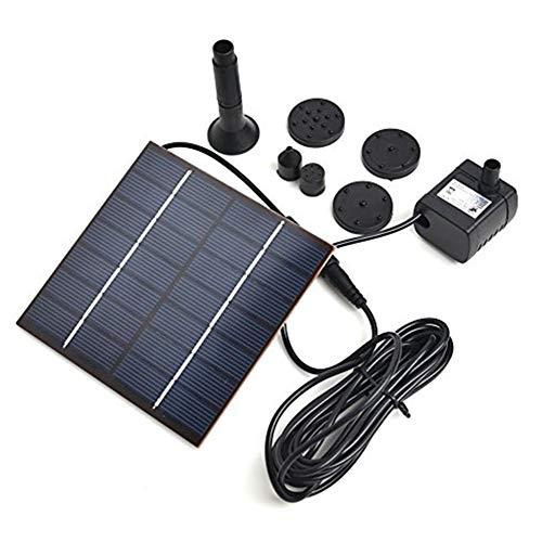 DaoRier Pompe à eau solaire 1,2 W avec ventouses au fond 11x11x3.8cm Noir