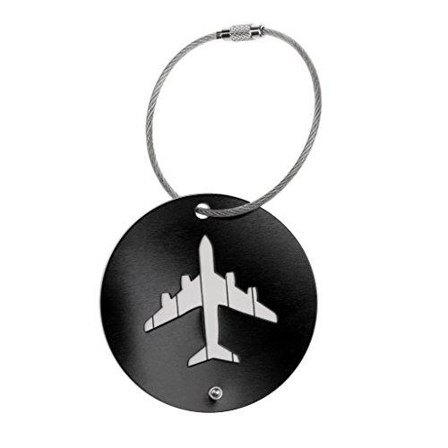 MagiDeal 7 Couleurs Etiquette de Valise en Alliage d'aluminium Motif Avion Voyage Bagages Sac à Main Tags Badge Porte-nom Adresse - Noir