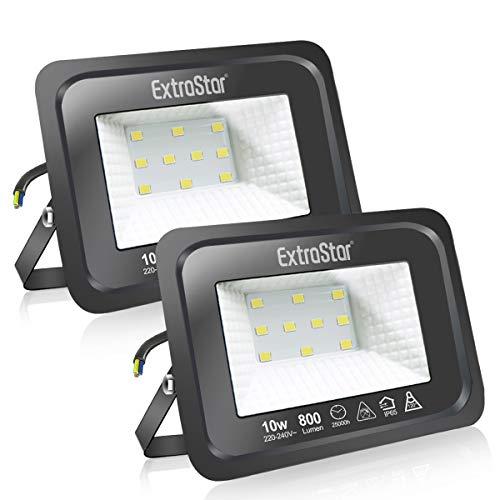 Faretti a LED per esterni Potenti luci a LED per esterni IP65, giardino, patio, parco, garage,2 Pezzi (6500K, 10W)