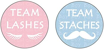 80 Pcs Deluxe Gender Reveal Party Stickers Team Staches and Team Lashes Baby Shower Voting Labels product image