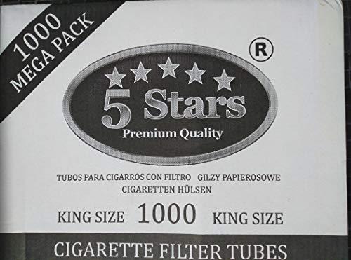 3000 Tubos vacíos para cigarrillos con filtro extra largo 24mm (3 cajas de 1000 cigarrillos)
