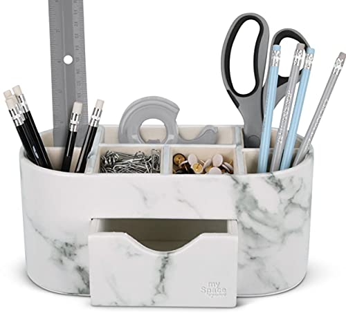 Desk Organizer Marble Faux Leather Organizers For Office Supplies Desk Accessories Pencil Pen Holder...