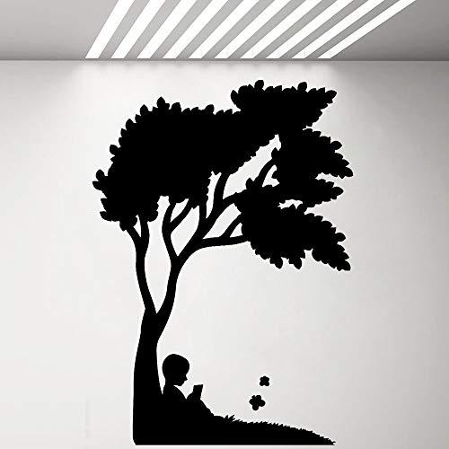 yaonuli leeswandsticker van de kleine jongen voor kinderbedruimteklassenkamerboekbehandeling binnenvinylglas-stickerwandafbeelding