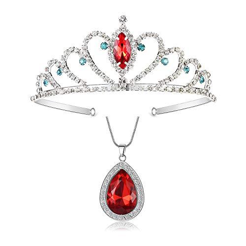 Evie Descendants Halskette mit rotem Stein und rotem Anhänger, 2 Kronen, Evie-Kostüm, Weihnachten, Halloween für Kinder
