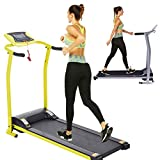 Electric Folding Treadmill for Home with LCD Monitor,Pulse Grip and Safe Key Fitness Motorized Running Jogging Walking Exercise Machine Space Saving for Home Gym Office Easy Assembly (Yellow)