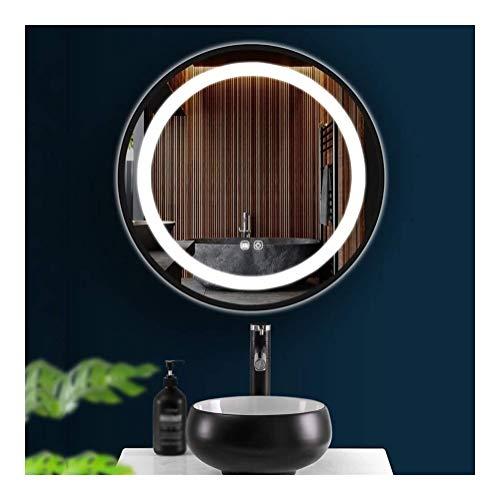 Badkamerspiegel Zwart Rond Ijzeren Frame Met Verlichting Kan Schakelaar Aanraken Antimistijd Make-upmuurspiegel (Size : 80cm*80cm(31.4in*31.4in))