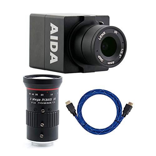 AIDA HD-100A Compact Full HD HDMI POV Camera with TRS Stereo Audio Input with AIDA Imaging CS Mount 5mm-50mm Varifocal Lens and Knox Gear 4K HDMI Cable (6-Foot) Bundle (3 Items)