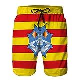 jiilwkie Shorts de Playa de Secado rápido para Hombre Shorts de Playa flaf de Menorca de Islas baleares en españa L