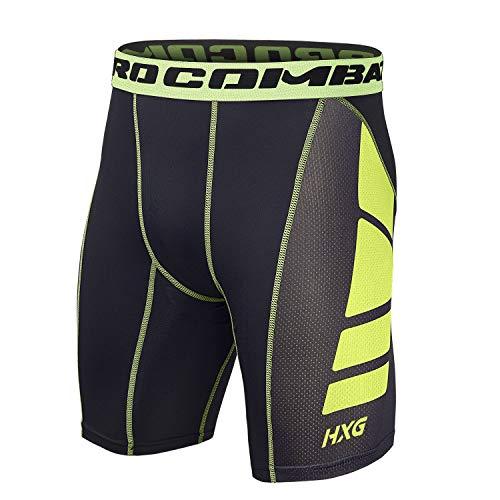 Hivexagon Pantalones Cortos de Compresión de Media Pierna para Deportes, Correr y Entrenamiento de Gimnasio SM008GNS