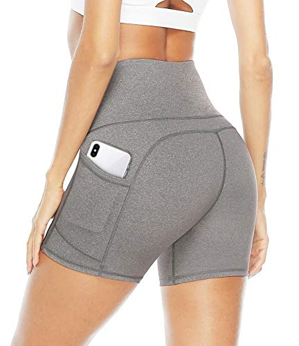 JOYSPELS Kurze Sporthose Damen Leggins Kurz Radlerhose Blickdicht High Waist mit Taschen Sommer Yoga Leggings Yogahose für Training Lauf Gym Yoga Fitness Grau XL