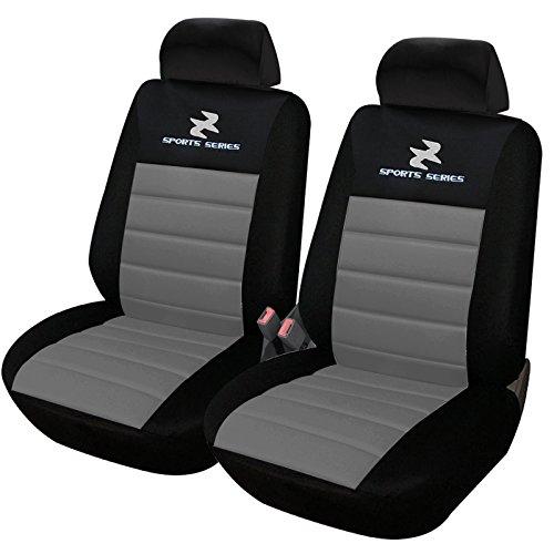 eSituro SCSC0070 2er Einzelsitzbezug universal Sitzbezüge für Auto Schonbezug Schoner Dicke gepolstert grau