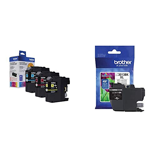 Brother Genuine Standard Yield Color Ink Cartridges, LC1013PKS, Replacement Color Ink Three Pack & Printer High Yield Ink Cartridge Page Up to 400 Pages Black (LC3013BK), Standard