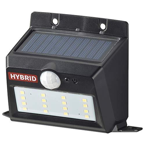 オーム電機 ハイブリッドセンサーウォールライト(400lm/ソーラー+乾電池/電球色LED/ブラック) LS-SHB140PN4-K