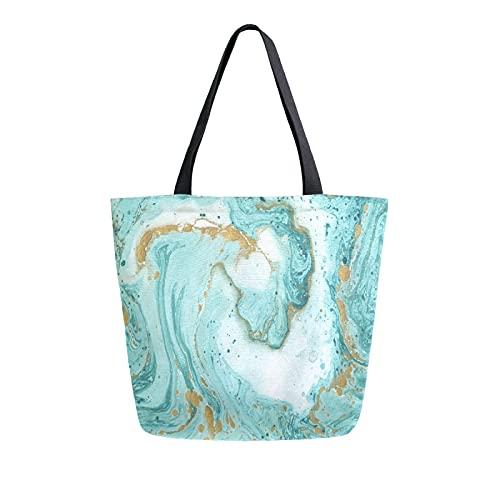 MeetuTrip - Bolsa de lona con textura de mármol para mujer, grande, reutilizable, bolsa de compras, bolso de hombro casual para la escuela, adolescentes, niñas, mujeres, profesoras de viaje