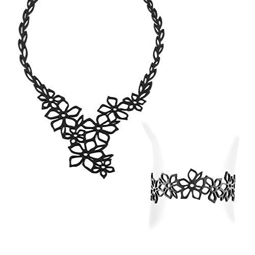 Juegos Collar y Pulsera Flores de Tiare de la goma silicona Negra efecto tatuaje - LAD 0003-0101 G - Blue Pearls