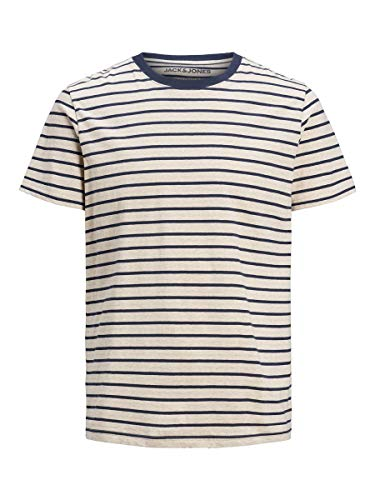 Jack & Jones JJESTRIPED tee SS Crew Neck STS Camiseta, Color Blanco, M para Hombre