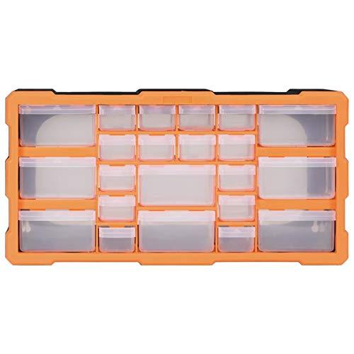 Lasamot 22 Organizador de gabinete de Almacenamiento con cajones múltiples, Organizador Caja de Herramientas de Garaje para el hogar Tornillo de uñas DIY Craft Hobby, 49x16x25.5 cm Naranja y Negro