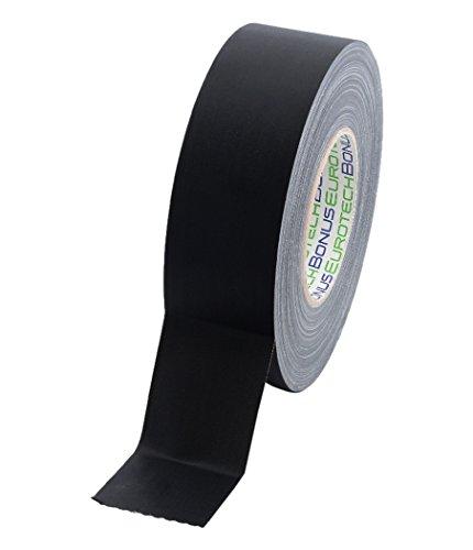 BONUS Eurotech 1BC12.50.0050/050A# Gaffer Stage Duct Tape, Klebstoff auf Naturkautschuk Basis, mit PE laminiertes Gewebe, Länge 50 m x Breite 50 mm x Dicke 0,31 mm, Matt Schwarz