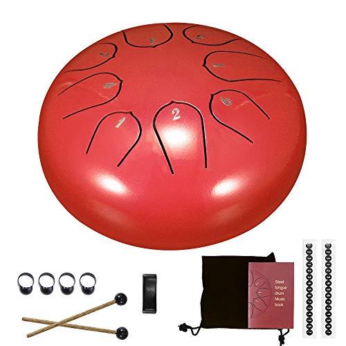 Stahlzungen-Trommel, LTXDJ 8 Noten 6 Zoll Hang Tank Drum Percussion-Instrument mit Trommelschlägern Fingerabdeckung Tragetasche Musikbuch für Meditation Mind Healing Music Education