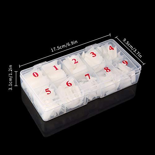 Petalum 500 Stücke Natürliche Französisch Acryl Künstliche Gefälschte Falsche Nägel Nagelspitzen Full Cover Kunstnägel mit Maniküre Cutter Schneider