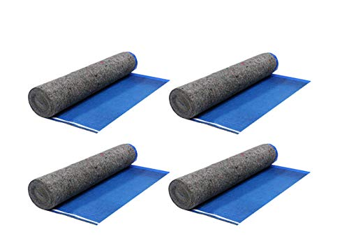 AMERIQUE 691322307429 Royal Blue 400SQFT 5TH Generation Extreme Quiet Super Heavy Duty Felt 3-in-1 Underlayment Padding with Tape & Vapor Barrier, 3.2MM, 400 Square Feet