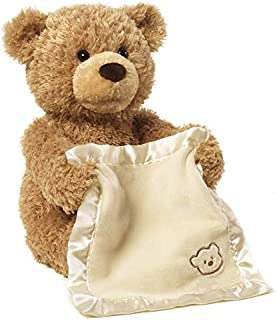 Children's Electric Puzzle Peekaboo Bears Will Hide and Seek Teddy Bear Doll Plush (Color : Brown, Size : 32CM)