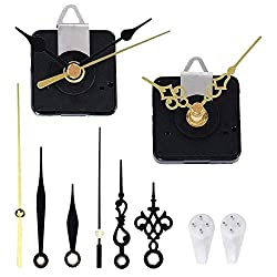 2 Pack Non Ticking Wall Clock Movements Mechanism with 4 Pairs of Short Hands Quartz Motor Kit Battery Operated DIY Repair Parts Replacement, 5/16 in Maximum Dial Thick, 45/64 in Total Shaft Length