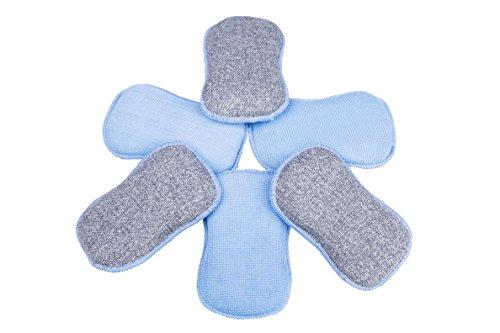 LTWHOME Double Face éponges Microfibre de Cuisine de Tampons à Récurer pour Les poêlons antiadhésifs, Grattante Non Odor Brosse à Plat Antiadhésif, Bleue (Paquet de 6)
