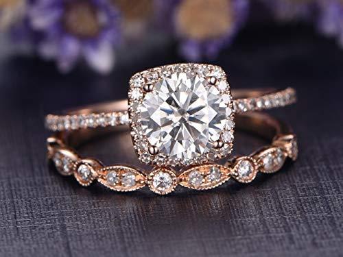Yellow Gold Wedding Band Art Deco Diamond marquise white sapphire moissanite half eternity band Dainty Stacking Bridal set Anniversary gift