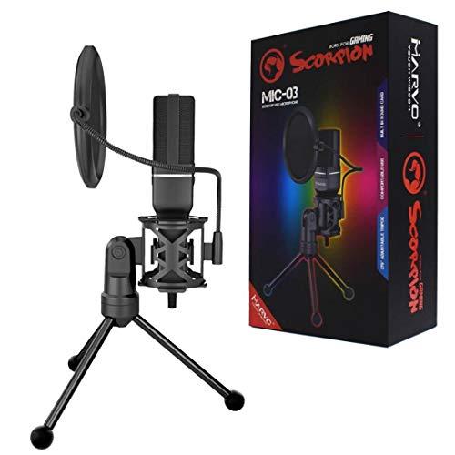 Microfone Stream Usb Com Tripe Marvo Scorpion MIC-03
