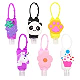6Pcs Portable Empty Bottles Hand Sanitizer, Holder Cartoon 30ml Leak Proof Refillable Plastic Travel Bottles, with Detachable Silicone Protective Case Liquid Soap Containers for Kids
