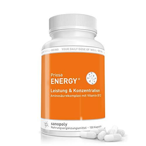 SANOPOLY Priosa® ENERGY 150 Kapseln I Aminosäuren-Mix für effizienten Muskelaufbau I 16 eiweißbildende Aminosäuren, Vitamin B & SOD für vollständigen Protein-Aufbau I Medizinisch geprüfte Rezeptur