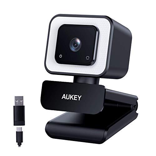 AUKEY Webcam Full HD, Cámara de Transmisión en Directo de 1080p 60 fps con Micrófonos Estéreo y luz LED, USB-C de Escritorio o para Videollamadas