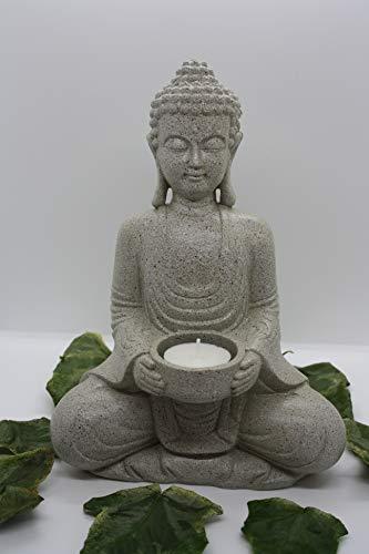Statua Buddha con portalumino 27 cm. da Esterno in poliresina Effetto Pietra Naturale Grigia Porta Candele 27 cm.
