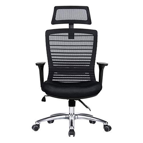 Ergonomic Office Chair - Modern High-Back Desk Chair - Reclining Computer Chair with Lumbar Support - Adjustable Seat Cushion & Headrest- Breathable Mesh Back (B-Black)