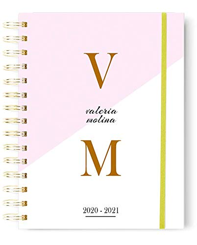 Onepersonal - Agenda Escolar personalizable 21-22   para Personalizar con tu Nombre - Impresa en Color e Incluye 2 páginas de Pegatinas   Tamaño A5