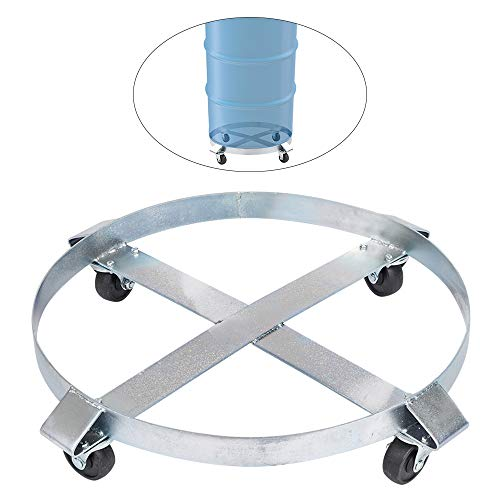 TUFFIOM Heavy Duty Drum Dolly, 1000 lbs. 55 Gallon Barrel Cart, Non-Tipping, Steel, 4 Swivel Casters, Wheeled Hand Truck for Drum Handling Industrial Use (1)