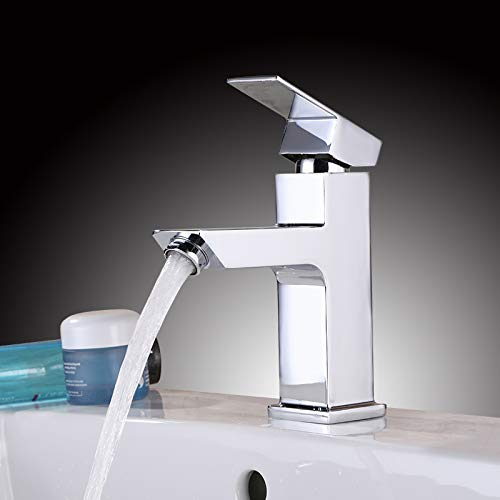 Homelody Eckig Wasserhahn Bad Armatur Mischbatterie Bad Waschtisch Armatur Waschbeckenarmatur Waschtischbatterie Einhhandmischer Badarmatur Chrom (Silber)