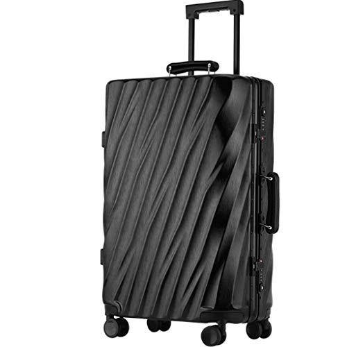 Lyl Maleta Masculino Marea Versión coreana de la contraseña Personalidad Travel Box Caster puede sentarse Personas Aluminio Frame equipaje Trolley case Mujer, Black (Negro) - yh5436