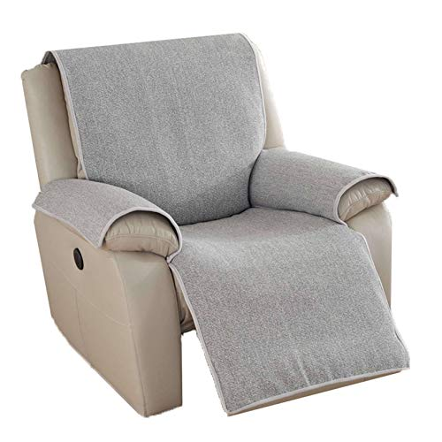 Mqing Super Soft Recliner Sofa Slipcover, Quilted Recliner Chair Cover With Elastic Straps Recliner Seat Furniture Protector-Light gray A-M