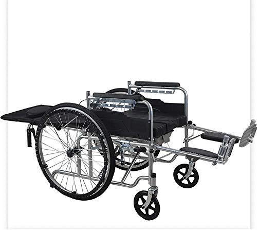 Hyy-yy, sedia a rotelle leggera e pieghevole, sedia a rotelle con propulsore, sedia a rotelle portatile da viaggio, poggiapiedi rimovibili (colore : A, dimensioni: mezza posa)