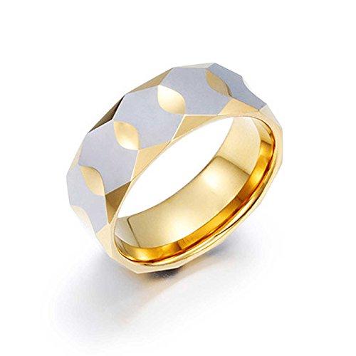NELSON KENT Anillo de oro prismático de acero de tungsteno simple para hombre Talla 30