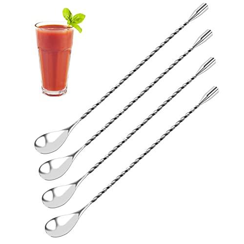 DIQC 4 Pezzi Cucchiaio da Cocktail in Acciaio Inox, Cucchiaini da Bar, Cucchiaio per Cocktail Miscelatore in Acciaio Inox con Manico Lungo a Spirale, Ideale per Casa e Bar, 12 Pollici, Argento