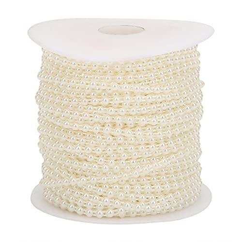 Cuentas de perlas de imitación, cadena de cuentas de perlas, 4 mm para decoración de vestidos de novia Decoración navideña para decoración de ramo de boda