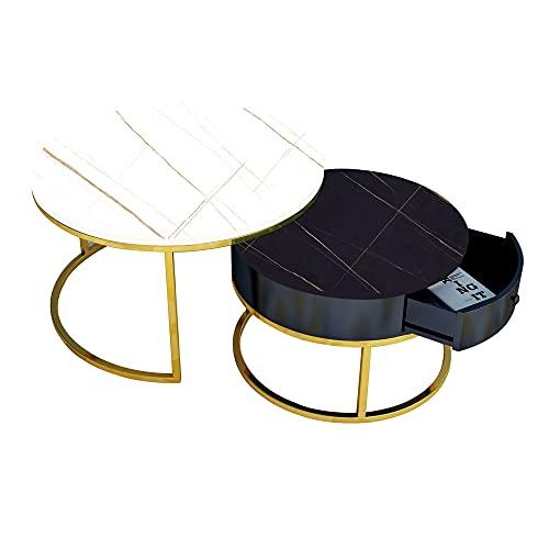 Tavolino in marmo, tavolo decorativo rotondo, tavolino a scomparsa mobile, adatto per camera da letto, balcone, soggiorno, giardino, corridoio/E / 80cm