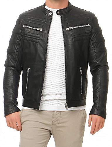 Hollert German Leather Fashion Lederjacke - KOZA Herren Jacke Echtleder Bikerjacke schwarz Größe...